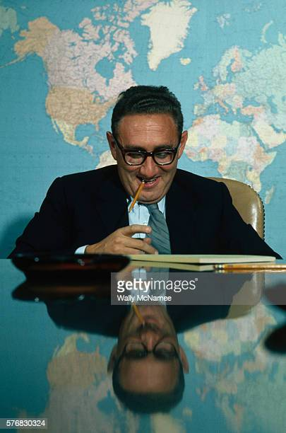 White House National Security Affairs Adviser Henry Kissinger poses for a portrait in the Situation Room in the basement of the West Wing at the...