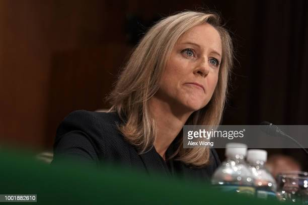 White House Office of Management and Budget official Kathleen Laura Kraninger testifies during a confirmation hearing before the Senate Committee on...