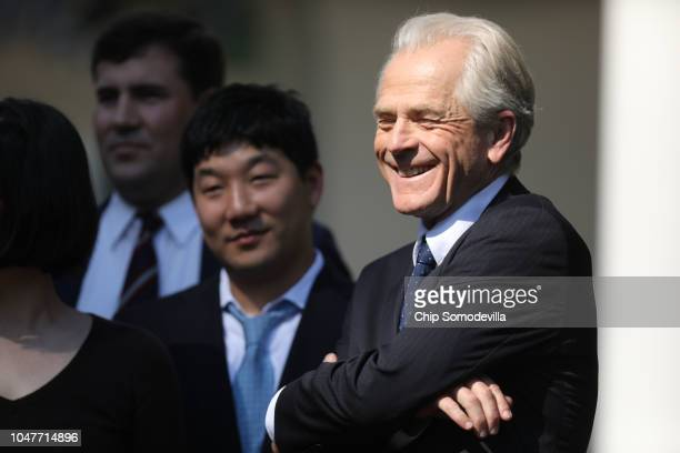 White House Office of Trade and Manufacturing Policy Director Peter Navarro joins President Donald Trump for a press conference to discuss a revised...
