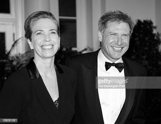 02/05/98 White House Official Dinner President Clinton and Prime Minister Tony Blair Caption info Harrison Ford and wife Melissa Mathison Photo By...