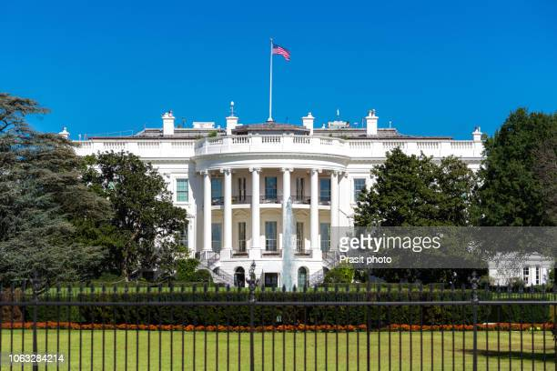 white house on deep blue sky background in washington dc, usa. - la maison blanche photos et images de collection