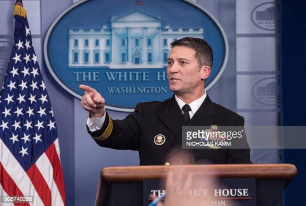 White House physician Rear Admiral Ronny Jackson speaks at the press briefing at the White House in Washington DC on January 16 2018 / AFP PHOTO /...