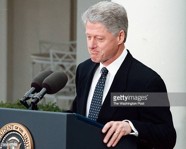 White House President Bill Clinton speaks to the press at the White House after the Senate aquicted him in the Senate impeachment trial