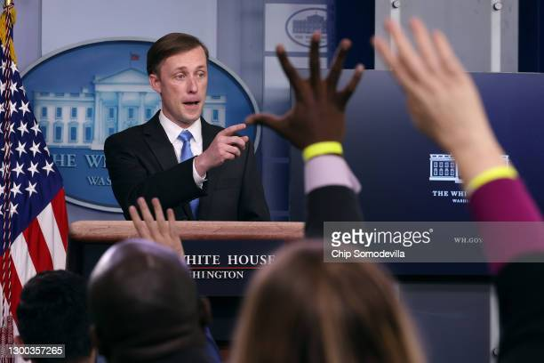 White House Press National Security Advisor Jake Sullivan talks to reporters during the daily press conference in the Brady Press Briefing Room at...