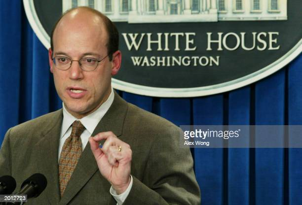 White House Press Secretary Ari Fleischer gestures as he speaks during the daily news briefing at the White House May 19 2003 in Washington DC...