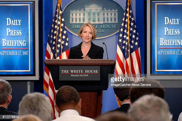 White House Press Secretary Dana Perino holds her first press conference in the Brady Briefing room after replacing Tony Snow.