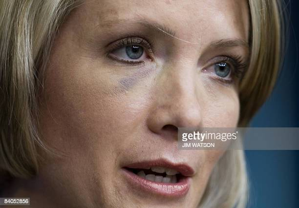 White House Press Secretary Dana Perino speaks during the daily briefing at the White House in Washington DC December 16 2008 Perino was slightly...