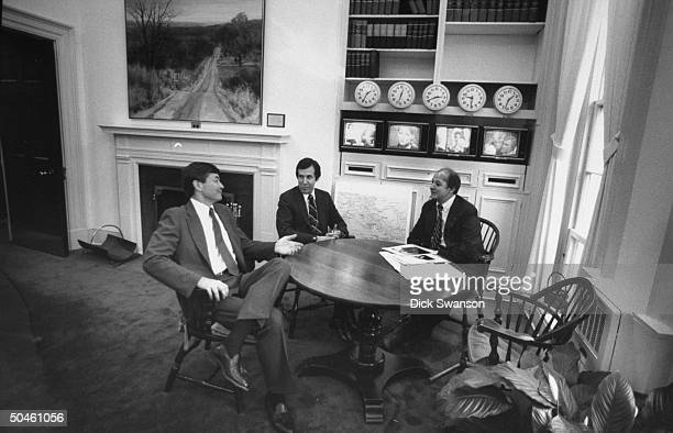 White House Press Secretary James Brady with CBS newscaster Bill Plante and NBC newscaster Chris Wallace in the White House press office