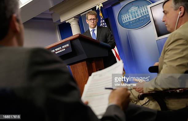 White House Press Secretary Jay Carney answers questions during a press briefing at the White House May 10, 2013 in Washington, DC. Carney fielded...