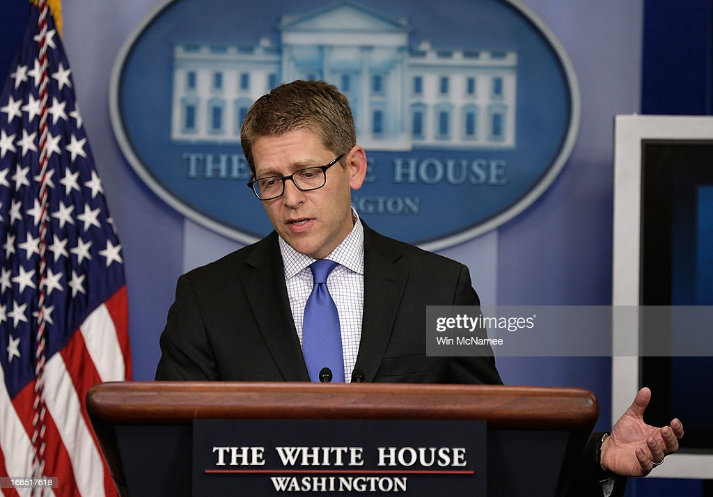 White House Press Secretary Jay Carney answers questions during a press briefing at the White House May 10, 2013 in Washington, DC. Carney fielded questions primarily on recently disclosed information relating to the attack on the U.S. consulate in Benghazi and a recent news report regarding targeted audits by the Internal Revenue Service of organizations supporting the Tea Party.
