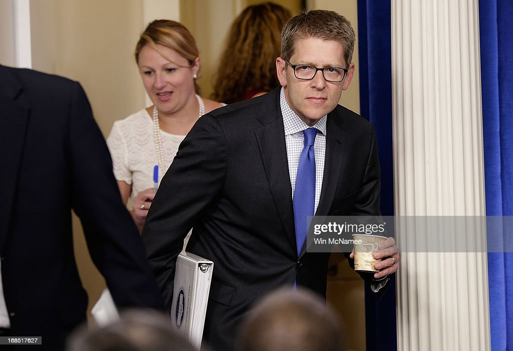 White House Press Secretary Jay Carney arrives for a press briefing at the White House May 10, 2013 in Washington, DC. Carney fielded questions primarily on recently disclosed information relating to the attack on the U.S. consulate in Benghazi and a recent news report regarding targeted audits by the Internal Revenue Service of organizations supporting the Tea Party.