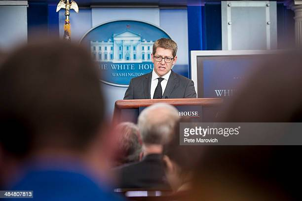 White House Press Secretary Jay Carney briefs the press at the White House on April 14, 2014 in Washington, DC. Carney confirmed that CIA Director...