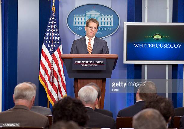 White House Press Secretary Jay Carney conducts his daily press briefing in the Brady Press Briefing Room of the White House on December 12, 2013 in...