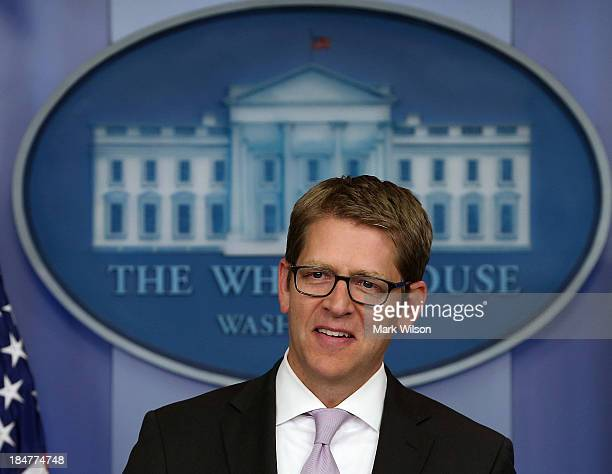White House Press Secretary Jay Carney speaks during his daily briefing at the White House, October 16, 2013 in Washington, DC. The Senate announced...