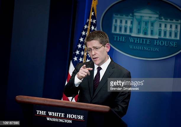 White House Press Secretary Jay Carney takes questions during his first daily press briefing as press secretary February 16, 2011 in Washington, DC....