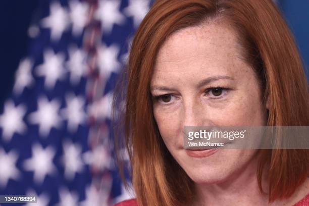 White House press secretary Jen Psaki answers questions in the White House press briefing room on September 16, 2021 in Washington, DC. Psaki...