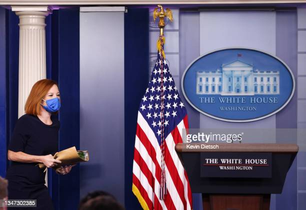 White House Press Secretary Jen Psaki arrives for a press briefing at the White House on October 18, 2021 in Washington, DC. Psaki announced that...
