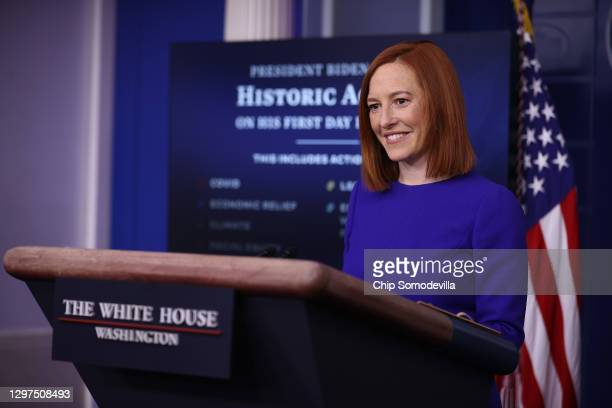 White House Press Secretary Jen Psaki conducts her first news conference of the Biden Administration in the Brady Press Briefing Room at the White...