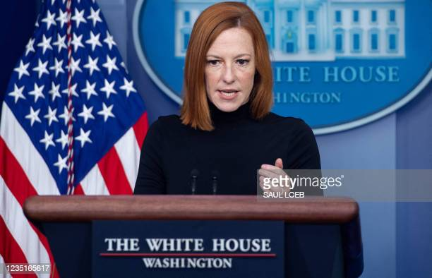 White House Press Secretary Jen Psaki holds a press briefing in the Brady Press Briefing Room of the White House in Washington, DC, September 10,...