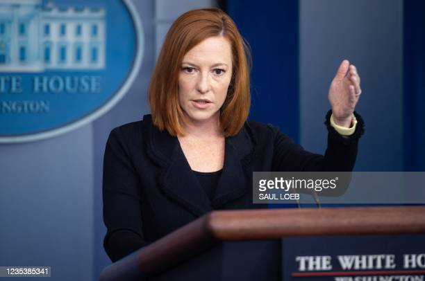 White House Press Secretary Jen Psaki holds a press briefing in the Brady Press Briefing Room of the White House in Washington, DC, September 20,...