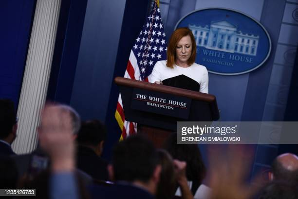 White House Press Secretary Jen Psaki holds a press briefing in the Brady Briefing Room of the White House in Washington, DC, on September 22, 2021.
