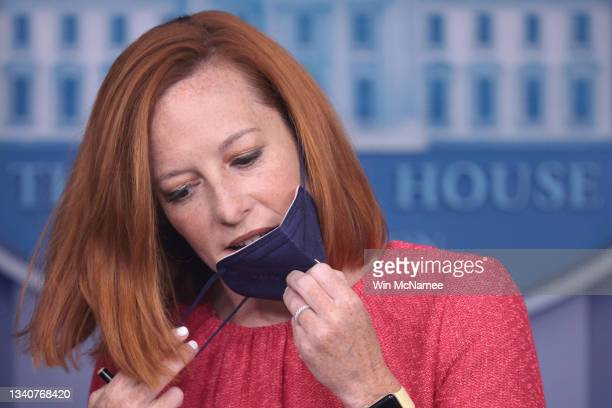 White House press secretary Jen Psaki prepares to answer questions in the White House press briefing room on September 16, 2021 in Washington, DC....