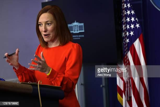 White House Press Secretary Jen Psaki speaks during a press briefing at the James Brady Press Briefing Room of the White House January 21, 2021 in...