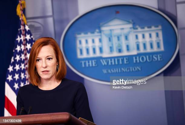White House Press Secretary Jen Psaki speaks during a press briefing at the White House on October 18, 2021 in Washington, DC. Psaki announced that...