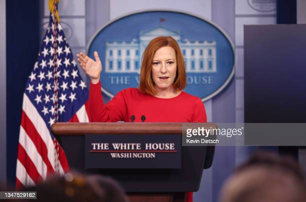 White House Press Secretary Jen Psaki speaks during a press briefing at the White House on October 19, 2021 in Washington, DC. Psaki spoke about the...