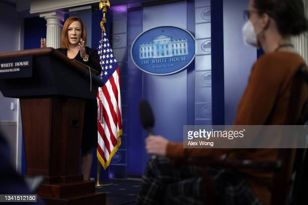 White House Press Secretary Jen Psaki speaks during the daily press briefing in the James S. Brady Press Briefing Room at the White House September...