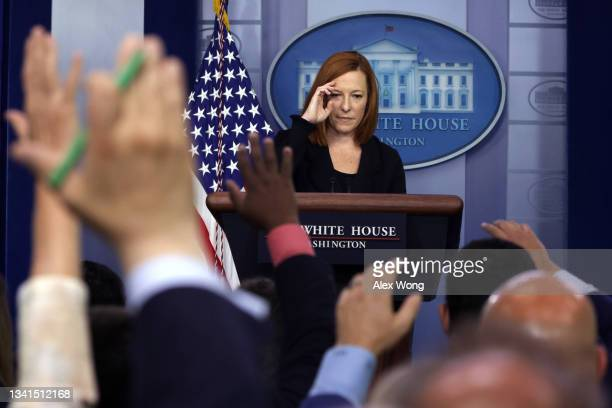 White House Press Secretary Jen Psaki takes questions during the daily press briefing in the James S. Brady Press Briefing Room at the White House...