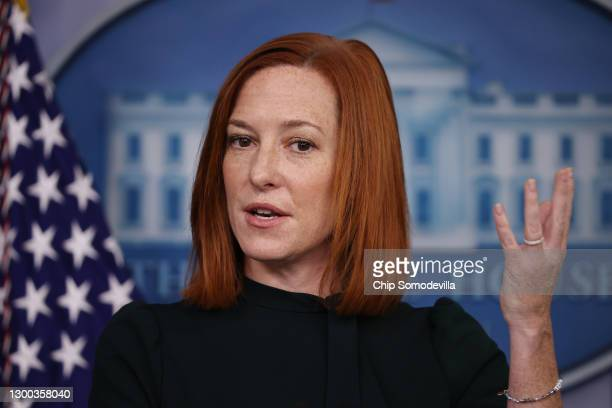 White House Press Secretary Jen Psaki talks to reporters during the daily press conference in the Brady Press Briefing Room at the White House...