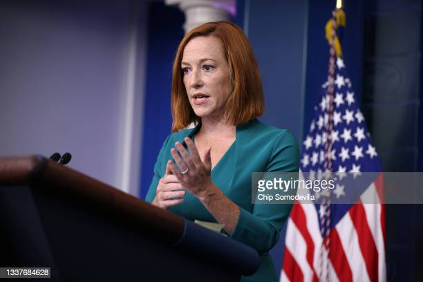 White House Press Secretary Jen Psaki talks to reporters during the daily news conference in the Brady Press Briefing Room at the White House on...