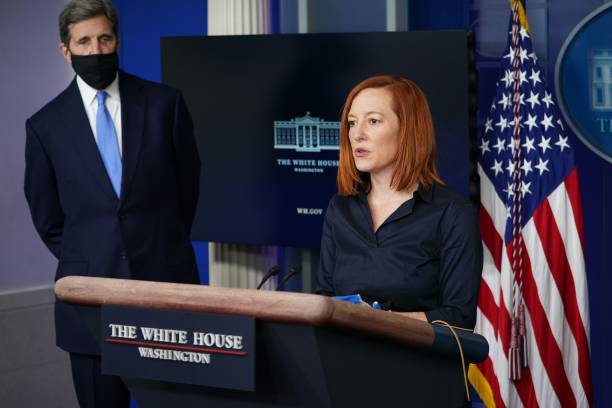 DC: Press Secretary Jen Psaki And Climate Change Advisors Hold White House Press Briefing