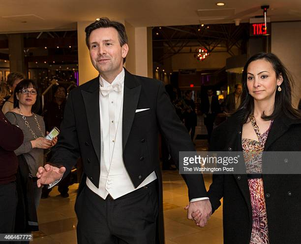 White House Press Secretary Josh Earnest and his wife Natalie arrive at the Gridiron Club Dinner at the Renaissance Hotel in Washington DC on March...