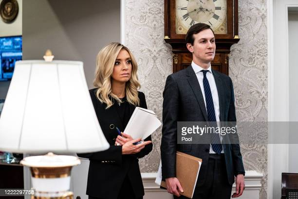 White House Press Secretary Kayleigh McEnany and soninlaw and senior advisor to US President Donald Trump Jared Kushner attend an announcement that...
