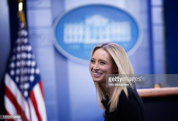 White House press secretary Kayleigh McEnany answers questions during a brief appearance in the White House briefing room on April 30, 2020 in...