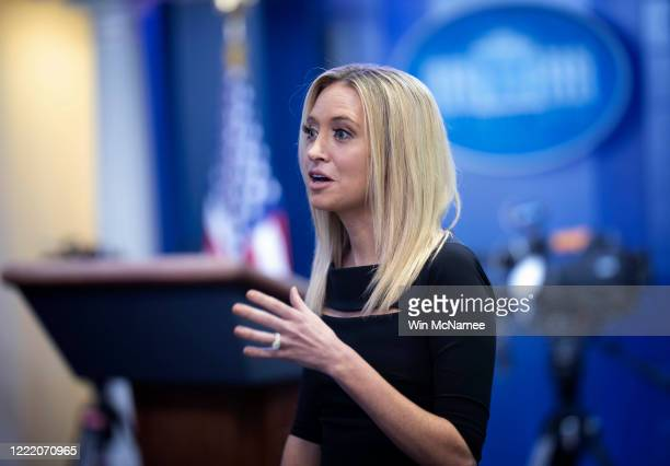 White House press secretary Kayleigh McEnany answers questions during a brief appearance in the White House briefing room on April 30 2020 in...