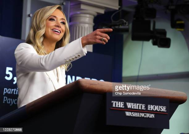 White House Press Secretary Kayleigh McEnany answers reporters' questions during a news conference in the Brady Press Briefing Room at the White...