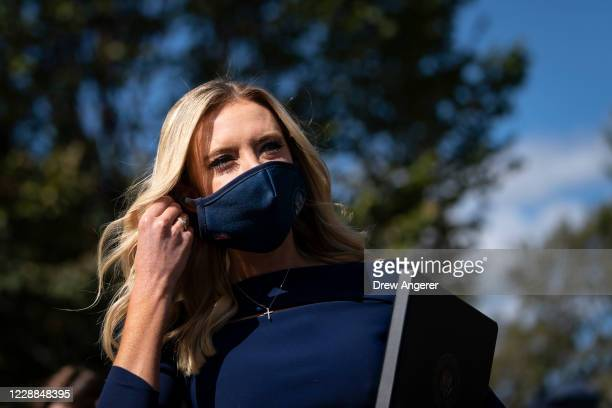 White House Press Secretary Kayleigh McEnany arrives to speak with reporters outside the West Wing of the White House on October 2, 2020 in...