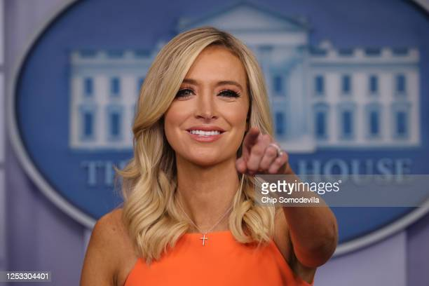 White House Press Secretary Kayleigh McEnany calls on reporters during a news conference in the Brady Press Briefing room at the White House June 29,...