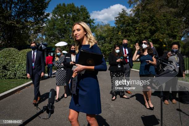 White House Press Secretary Kayleigh McEnany departs after talking to reporters outside the West Wing of the White House on October 2, 2020 in...