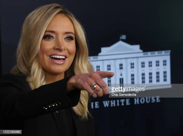 White House Press Secretary Kayleigh McEnany holds her first on-camera news conference in the James Brady Press Briefing Room at the White House May...