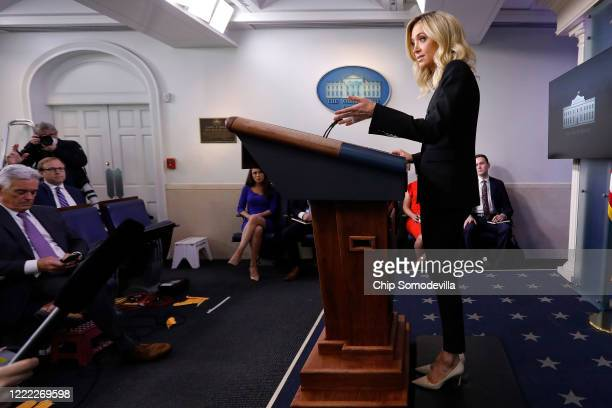 White House Press Secretary Kayleigh McEnany holds her first oncamera news conference in the James Brady Press Briefing Room at the White House May...
