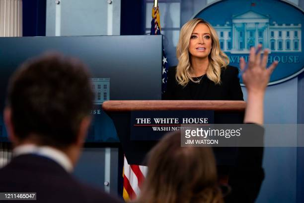 White House Press Secretary Kayleigh McEnany holds her first press conference on May 1 in the Brady Briefing Room of the White House in Washington DC
