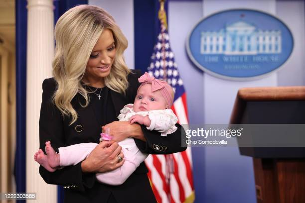 White House Press Secretary Kayleigh McEnany holds her fivemonthold daughter Blake Gilmartin at the podium in the Brady Press Briefing Room at the...