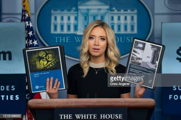 White House Press Secretary Kayleigh McEnany holds up FEMA January 2018 Pandemic Crisis Action Plan and Department of Health and Human Services...