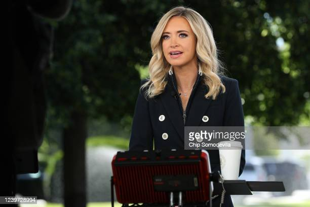 White House Press Secretary Kayleigh McEnany is interviewed for the Fox & Friends program outside the White House June 01, 2020 in Washington, DC....