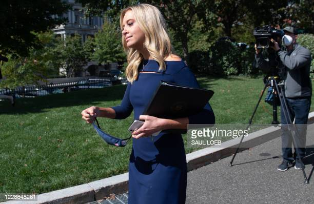 White House Press Secretary Kayleigh McEnany leaves after speaking to members of the media at the White House in Washington, DC, October 2, 2020. -...