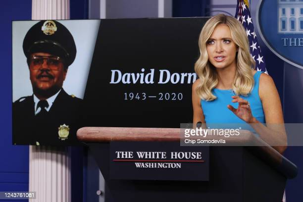 White House Press Secretary Kayleigh McEnany notes the deaths of several police officers during a news conference including retired St Louis Police...